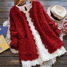 Red Cardigan for Women Cabled Knitted Sweet Vintage Cardigan Red Sweater