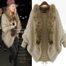 Women's Brown Beige Cardigan with Removable Fur Scarf Wool Sweater