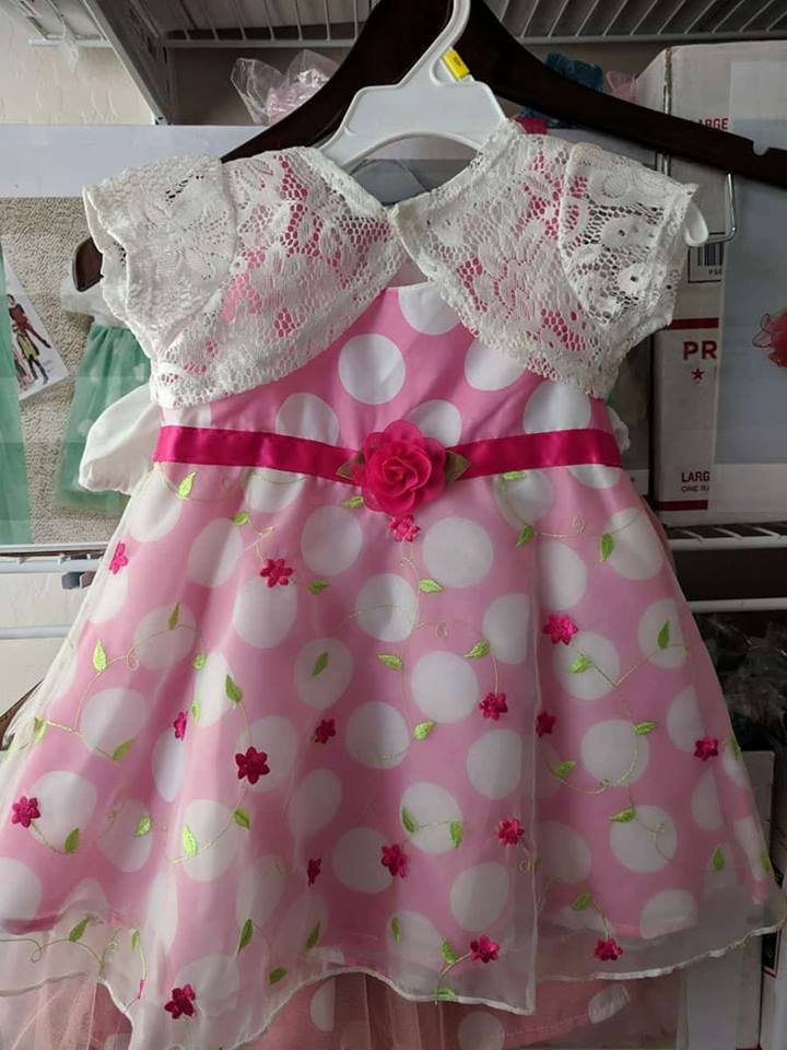12-18 Months Pink Dress for Girls Dress Laces for Infants with White Shrug