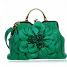 RSS 2018 Bags Green Purse Shoulder Bag with Big Flower Leather Handbags for Women