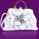 Ready to Ship RSS 2018 White Purse Shoulder Bag with Big Flower White Bridal Bags for Women