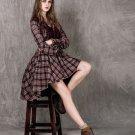 Purple Dress Size M Vintage Ruffled Purple Dress for Women V-Neck Checkered Dress