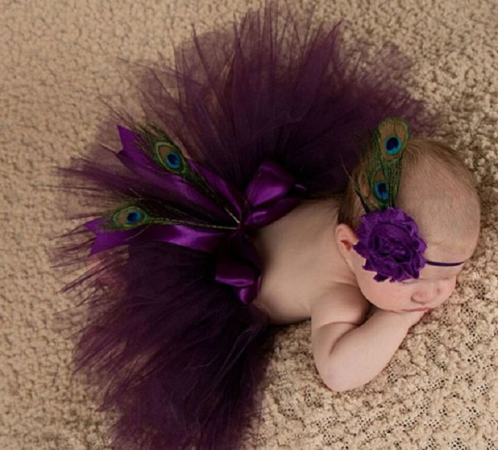 Baby Dress Newborn Props 0-3 Months Peacock Skirt with Matching Floral Peacock Headband