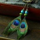 Handmade RSS 2018 Earrings for Women Peacock Long Earrings Peacock Feather Fashion Trendy Earrings