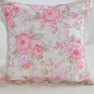 Patio Pillows Pink Pillow Case Cover Floral with Embroidery Lacy Hem Living Room