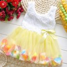 Yellow Dress for Girls Easter Baby Dresses with Free Headband Tutus with Petals
