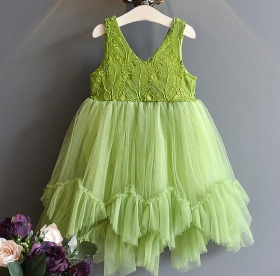 Rsslyn 24 Months Green Dress for Girls and Headband