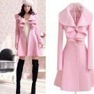 Pink Ruffled Trench Coats Wool Pink Ruffled Collar Trench Coats Winter Outfit Women