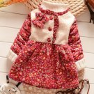 FREE Crochet Beanies with Red Floral Dress for 6-9 Months Cotton Duck Down Overcoats for Baby Girls