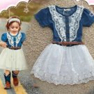 High Quality New Denim Dress for 12-24 Months with FREE Denim Bow Headband