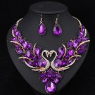 New Trend Double Swan Jewelry Set Prom Party Statement Purple Necklace Earring For Women