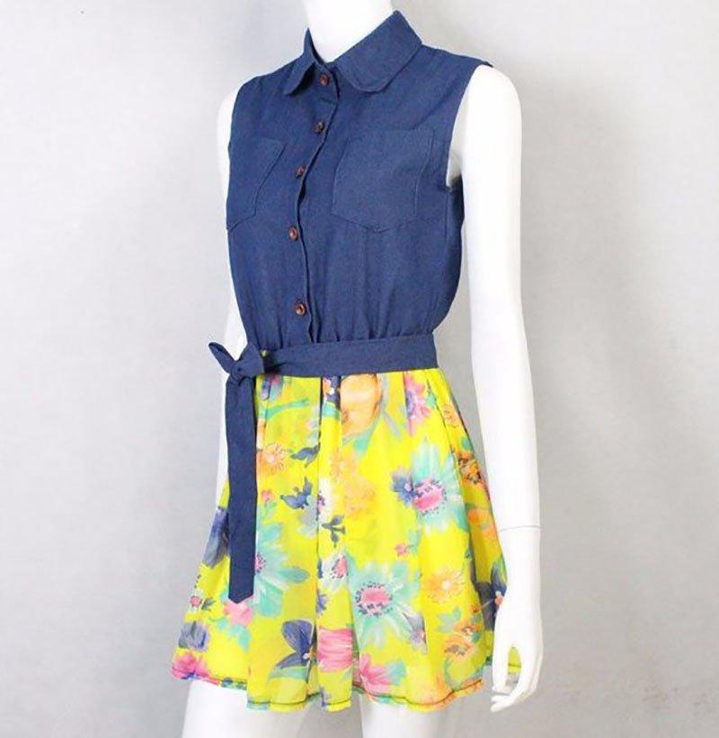 RSS Boutique Denim Dress for Teenage Girls 12-14YO Girls Summer Yellow Dress Above Knees Denim Dress
