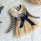 RSS Boutique Ready for Shipping 2-3 Months Navy Blue Baby Dress Peter Pan Striped Dress
