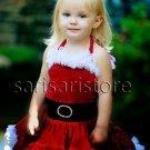 RSS Boutique Christmas Dresses for 2t,3t,4t,5t,6t Girls Soft Red Velvet Baby Tutu Dress