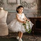 Luxury White Gown for Little Girls White Dress Matching Necklace & Headband
