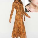 Snake Pattern Dress Ready to Ship Yellow Dress Matching Golden Snake Earrings