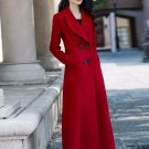 Elegant Red Trench Coats Wool and Cozy Overcoats for Women Straight Waistline No Belt