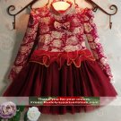 Turtleneck Burgundy Dress Pretty Red Wine Color Tutu Dress for 3t Infant Girls Free Headband
