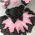 Bella Girls Elegant Black Dress for Infant Girls Luxury Gowns with Soft Pink Color Tulle