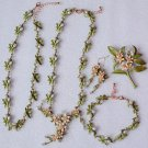 Ready to Ship Green Jewelry Set Peach Blossom RSS Boutique Cute Collection Jewelries for Women