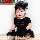 """My Little Black Dress"" 3-6 Months Dress with Black Headband READY TO SHIP ITEMS"