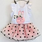 2/3t Girls Matching Set Clothes Pink Tulle Skirt for Girls and Short Sleeves White Tees