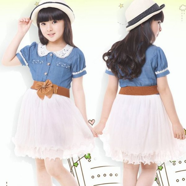 Lovely White Dress Denim Tutu Dress for 4T Girls Casual Dress Ready to Ship Western Outfit