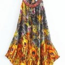 Asymmetrical Peacock Loose Type Long Tunic Tops for Women Orange Yellow Tops