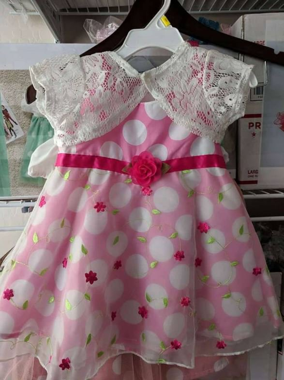 Ready to Ship 12-18 Months Pink Dress for Girls Dresses for Infants with Lacy White Shrug