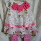 Ready to Ship 3-6 Months Pink Dress for Girls Dresses for Infants with Lacy White Shrug