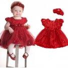 Beautiful Baby Dress 3-6 Months Red Tutu Dress Christmas Dress with Matching Red Headband