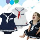 READY TO SHIP 3-6 Months Stripe Navy Blue Romper Navy Sailor Dress for Infant Girls