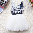 Ready to ship 2t White Lacy Dress White Dress Stripe Tutus with FREE HEADBAND