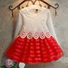 RSS Boutique 12-24 Months Christmas Dresses Stripes White Lacy Dress Ready to Ship Red Formal Dress