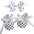 0-3 Months Newborn Baby Girls Shoes Polka Dots is Ready to Ship Amusing White Shoes with Bowtie