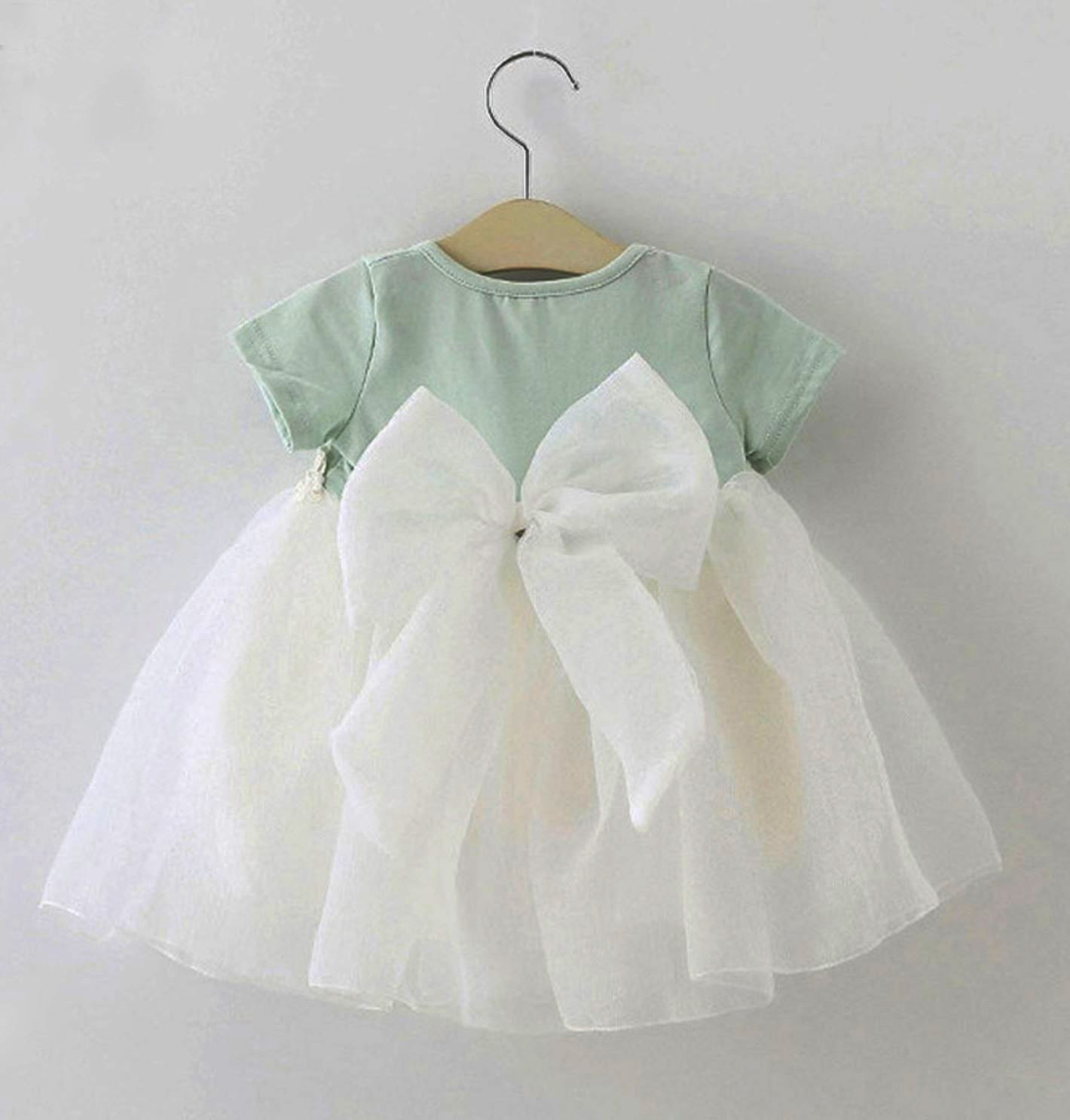Big Bow Baby Dress 3 Months Mintgreen Dress Short Sleeves Cuteness Lively Free Shipping Baby Dress