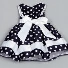 High Quality Satin 2T Girls Dress Navy Blue Flower Girls Dress Polka Dots Dress for Toddler Girls