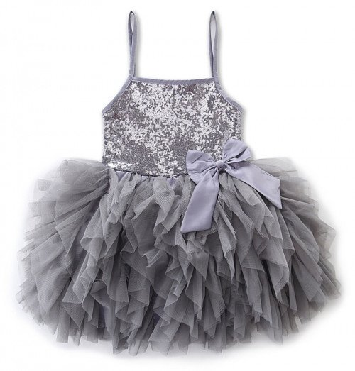 ON SALE Silver Dress for 6-7years Old Gray Tutu Dress Sequined Free Bow Headband Ballerina Dresses