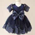 Newborn Girls 3-6 Months Navy Blue FREE SHIPPING Quinceanera Dress with Bow Headband Pageant Dress