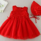 READY TO GO Matching Set 6-9 Months Red Dress for Newborn Girls with Bonnet 4 layers Tulle