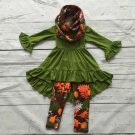 SALE 12-24Months Scarf Ruffled Asymmetrical Blouse Pretty Green Tees Fall Thanksgiving Outfit Props