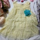 12-24 Months Yellow Dress for Infants Shaggy Tunic Ruffles and Laces Yellow Pastel Color Dress