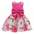 READY TO GO SALE 12-24 Months Big Bow Hot Pink Girls Dress Floral Dress Spring Printed Flowers Dress