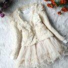 FREE SHIPPING 4T Ivory Tutu Dress 2pcs/set Girls Dress Tweed Ivory Cardigan and Ivory Dress