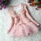 RSS Boutique 3t 2pcs/Combo Set Pink Girls Dress Detachable Corsage Tweed Pink Cardigan and Dress