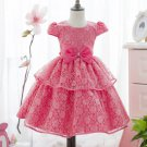 Puffy Short Sleeves 5t Flower Girls Dress Coral Pink Tutu Dress Multilayer Lining Ruffled Tulle