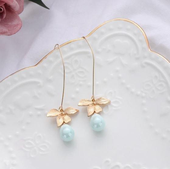 Vintage Earrings RSS 2018 Fashion Mintgreen Pearl Drop Earrings for Women