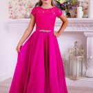 Hot Pink 12-13 Years Old Ballgown Dress Live Backless Fuchsia Birthday Quinceanera Dresses for Teens