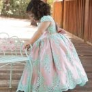 FREE SHIPPING Mintgreen 9-10yo Flower Girls Tutu Dress with Big Long Bow Mint Laced and Pink Color