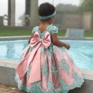 FREE SHIPPING 12-24 Months Mintgreen Flower Girls Dress with Big Long Bow Mint Laced and Pink Color